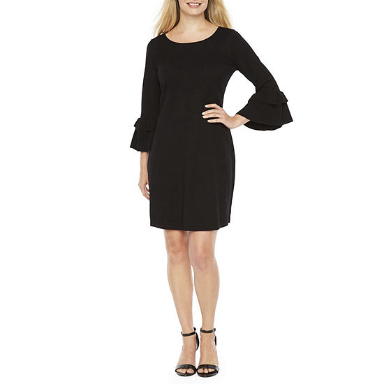 Danny & Nicole-Petite 3/4 Sleeve Midi Sweater Dress