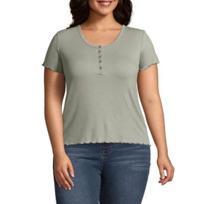 Arizona Short Sleeve U Neck T-Shirt-Womens Juniors Plus