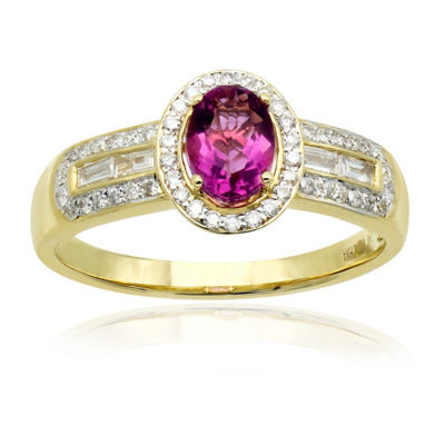 Womens 3/8 CT. T.W. Genuine Pink Fluorite 14K Gold Cocktail Ring
