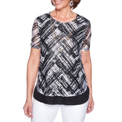 Alfred Dunner Barcelona Short Sleeve Round Neck Abstract T-Shirt-Womens