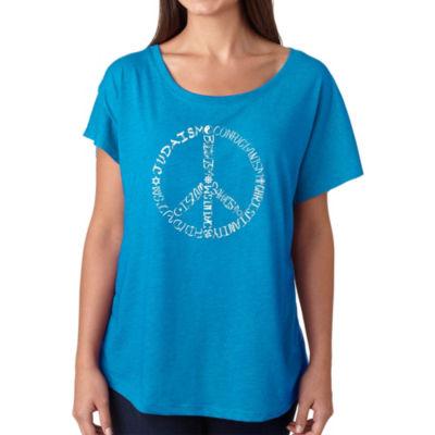 Los Angeles Pop Art Women's Loose Fit Dolman Cut Word Art Shirt - Different Faiths peace sign