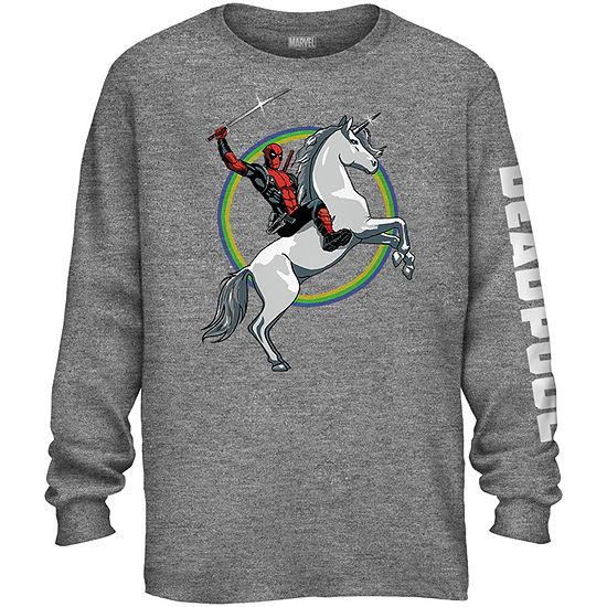 Deadpool Unicorn Long Sleeve Graphic Tee