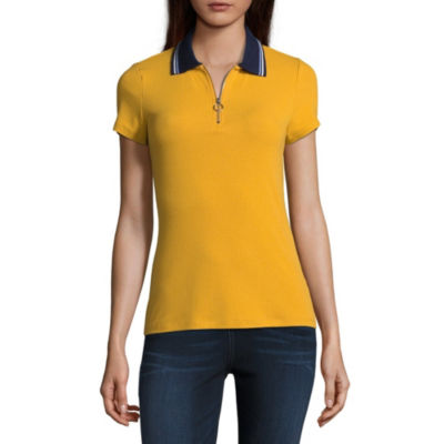 Almost Famous Short Sleeve Collar Neck Knit Blouse-Juniors