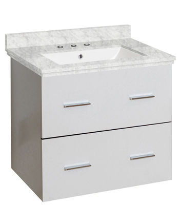 23.75-in. W Wall Mount White Vanity Set For 3H8-in. Drilling Bianca Carara Top White UM Sink