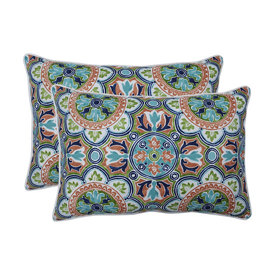 Pillow Perfect Lagoa Tile Flamingo Set of 2 Oversized Rectangular Outdoor Throw Pillows