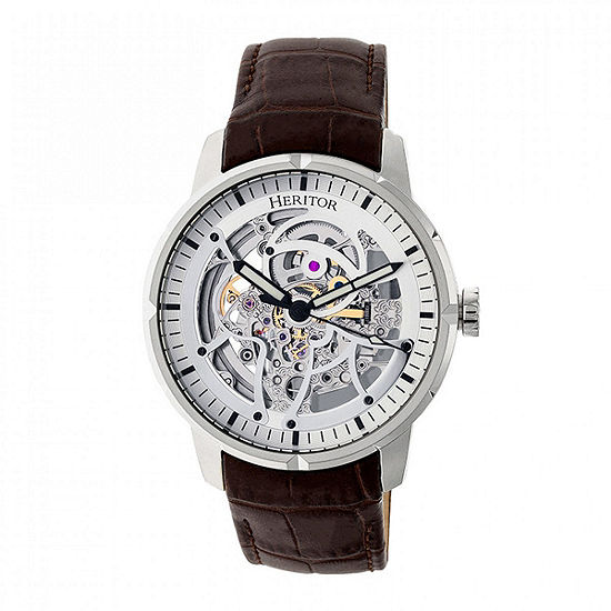 Heritor Ryder Mens Brown Automatic Strap Watch-Herhr4603