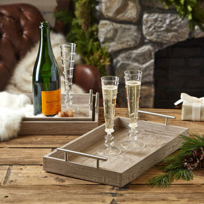 Two's Company Set Of 3 Wood Veneer Nested Decorative With Brushed Silver Handle Trays