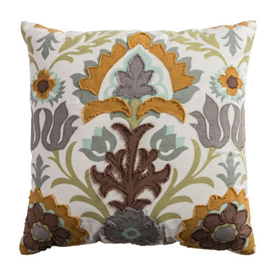 Rizzy Home Chloe Floral With Flourish Decorative Pillow
