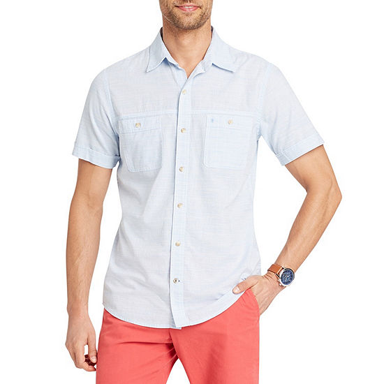 Izod Dockside Chambray Mens Short Sleeve Button Front Shirt