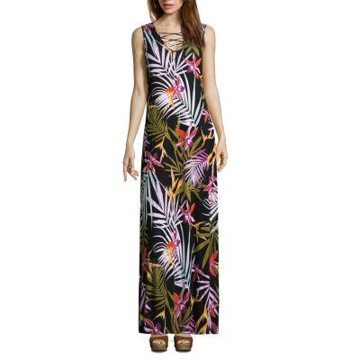 Spense Sleeveless Leaf Maxi Dress