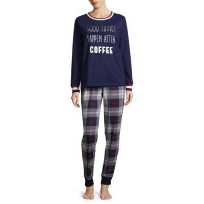 Peace Love & Dreams Womens Pant Pajama Set 2-pc. Long Sleeve