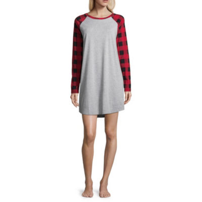 North Pole Trading Co. Jersey Long Sleeve Round Neck Plaid Nightshirt