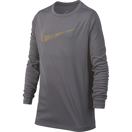 Nike Boys Crew Neck Long Sleeve Dri Fit Graphic T Shirt Big Kid