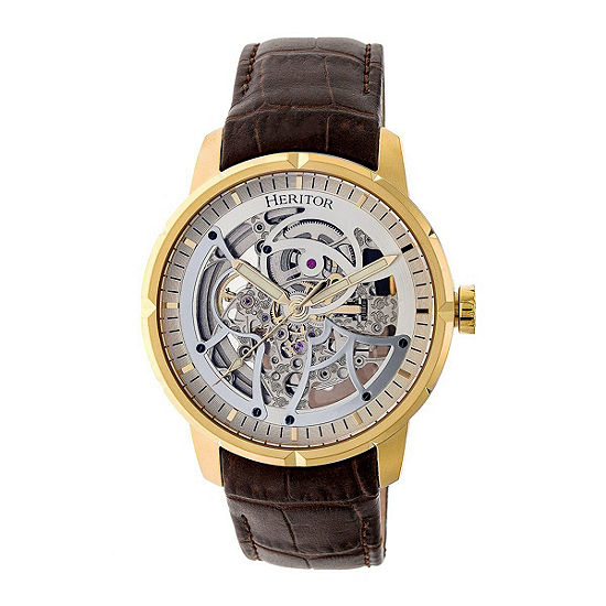 Heritor Ryder Mens Automatic Brown Leather Strap Watch-Herhr4605