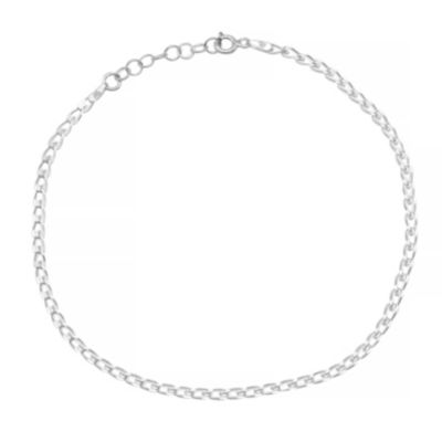 Itsy Bitsy 9 Inch Anklet Silver Tone Sterling Silver 9 Inch Semisolid Link Ankle Bracelet