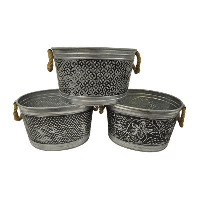 "St. Croix Trading Kindwer Set of 3 Antiqued 14"" Metal Tubs"