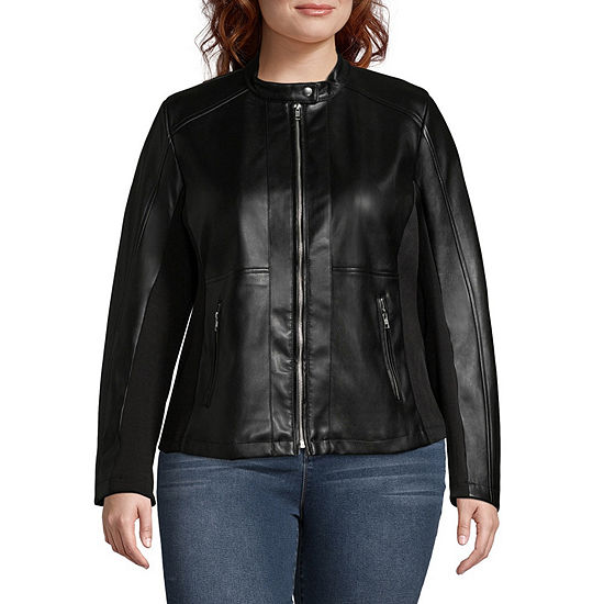 Ana Faux Leather Midweight Motorcycle Jacket Plus