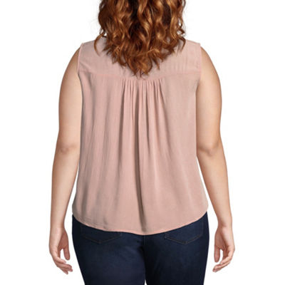 Derek Heart Sleeveless Round Neck Blouse-Juniors Plus