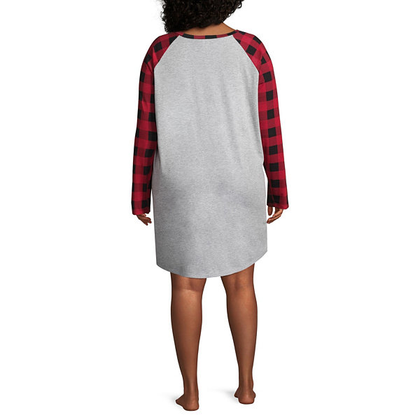 North Pole Trading Co. Womens-Plus Jersey Nightshirt Long Sleeve Round Neck Family