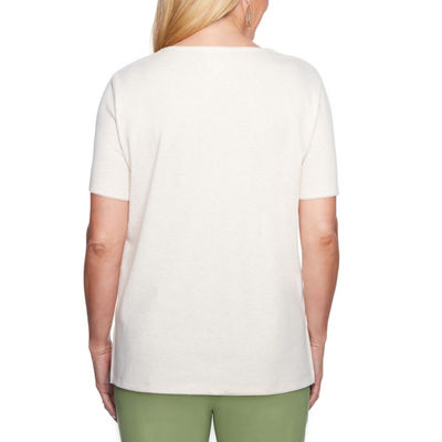 Alfred Dunner Parrot Cay Short Sleeve Split Crew Neck T-Shirt-Womens