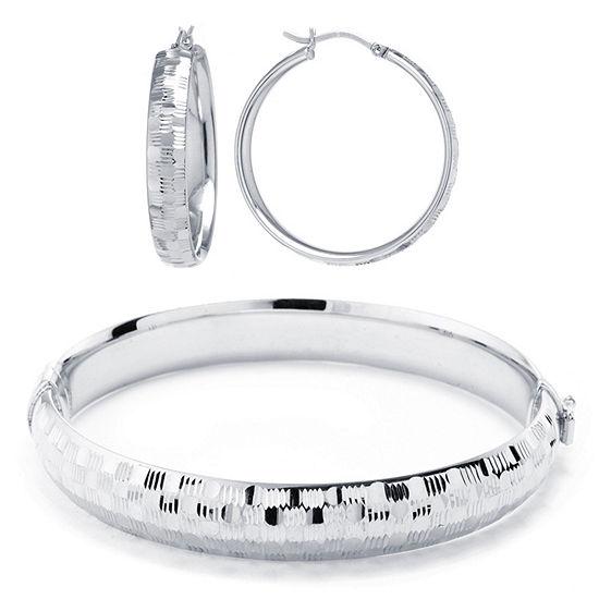 Hoop Earrings And Bangle Bracelet Sterling Silver 2-pc. Jewelry Set