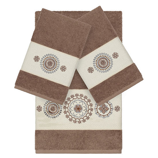 Linum Home Textiles 100% Turkish Cotton Isabelle 3PC Embellished Towel Set
