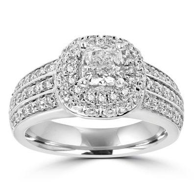 Womens 1 3/4 CT. T.W. Multi-Shape White Diamond 14K Gold Engagement Ring