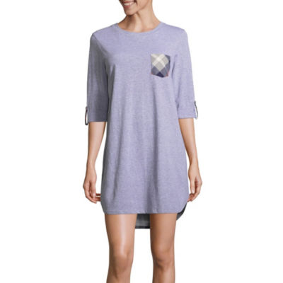 Peace Love & Dreams Womens Jersey Nightshirt Elbow Sleeve Round Neck