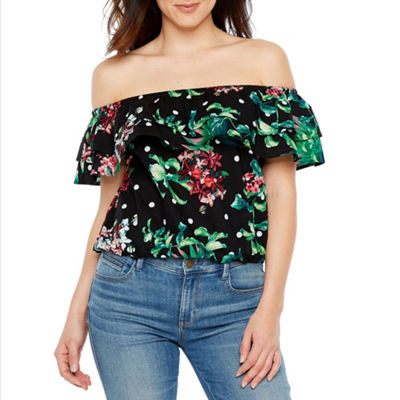 Bold Elements Off The Shoulder Ruffle Top