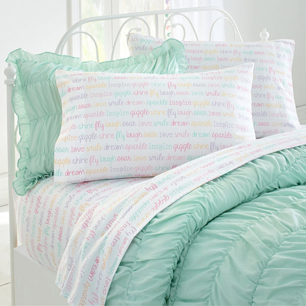Frank And Lulu Inspired Words Microfiber Easy Care Sheet Set