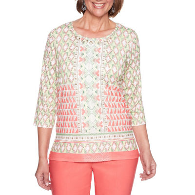Alfred Dunner Parrot Cay 3/4 Sleeve Round Neck Geometric T-Shirt-Womens
