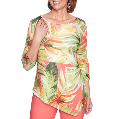 Alfred Dunner Parrot Cay 3/4 Sleeve Round Neck Leaf T-Shirt-Womens