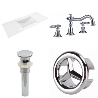 48-in. W 3H8-in. Ceramic Top Set In White Color -CUPC Faucet Incl.  - Overflow Drain Incl.