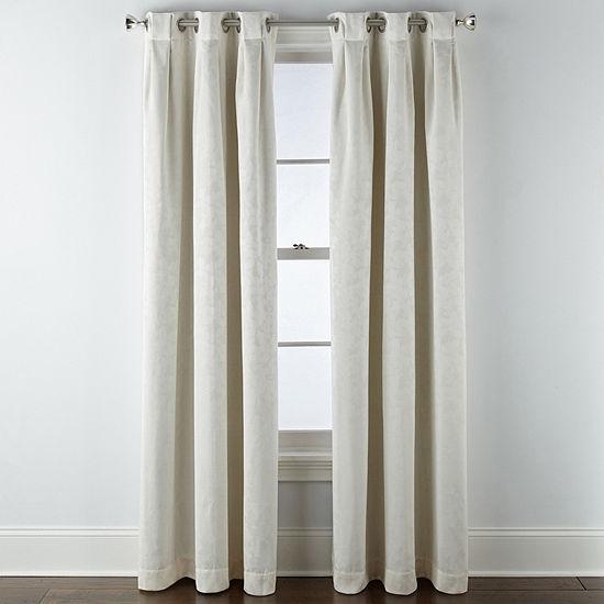 Liz Claiborne Zoe Leaf Bo Blackout Grommet-Top Single Curtain Panel