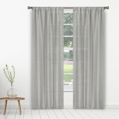 Home Maison Kealy Metallic Linen 2-Pack Rod-Pocket Curtain Panels
