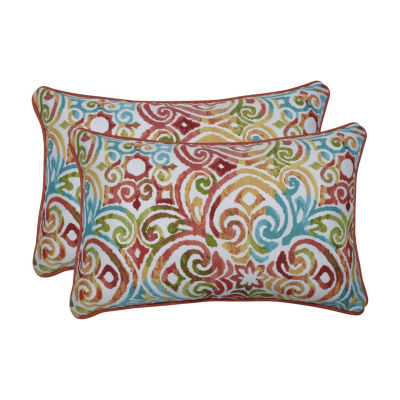 Pillow Perfect Corinthian Dapple Set of 2 Rectangular Outdoor Throw Pillows