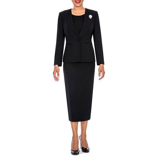 Giovanna Signature Womens 3 Piece Microfiber Collarless Skirt Suit