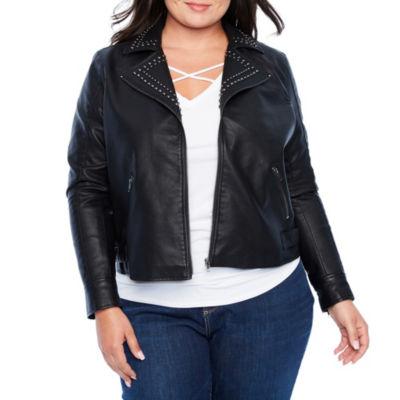 Boutique + Studded Moto Jacket - Plus