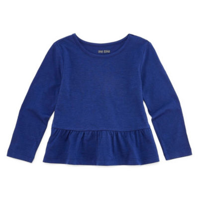 Okie Dokie Long Sleeve Crew Neck T-Shirt-Toddler Girls