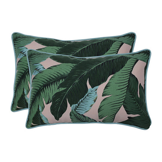 Pillow Perfect Swaying Palms Capri Set of 2 Rectangular Outdoor Throw Pillows