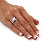 Diamonart Womens 3 1/2 CT. T.W White Cubic Zirconia Platinum Over Silver Square Engagement Ring