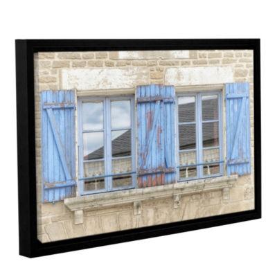 Brushstone Blue Shutters Floater-Framed Gallery Wrapped Canvas