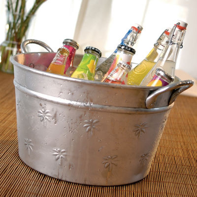 St. Croix Trading Kindwer Round Aluminum Palm Tree Relief Tub