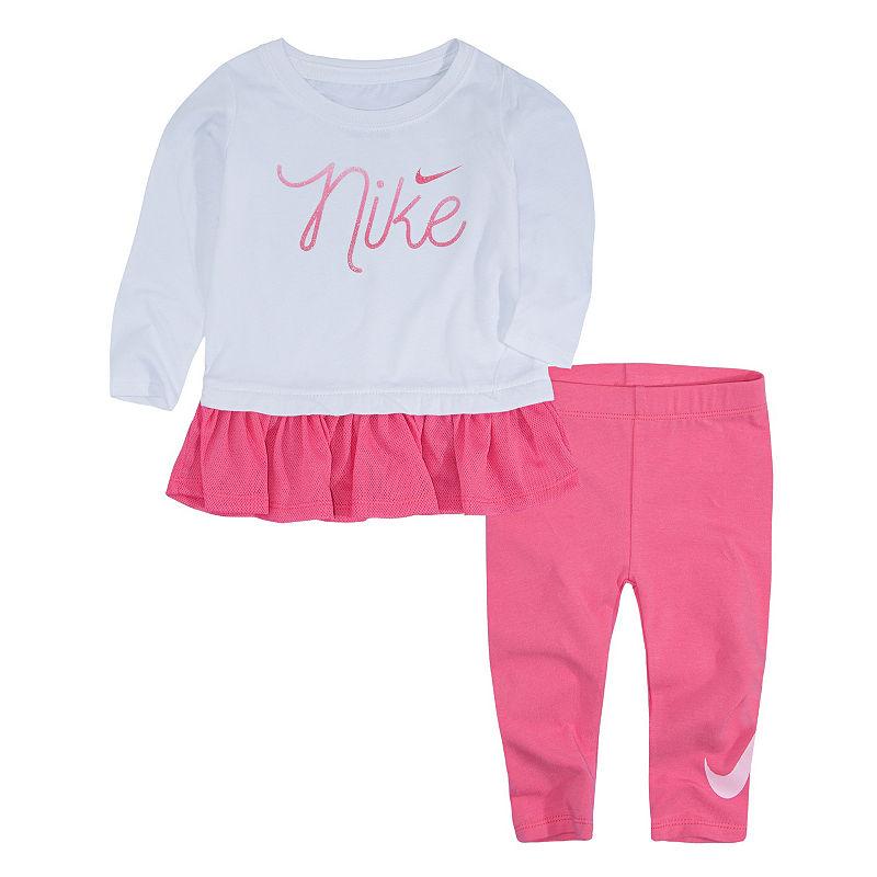 Nike F18 Bts Toddler Girl Flow 7 2-pack Legging Set, Girls, Pink Nebula White, Size 2t
