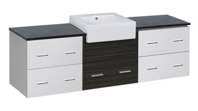 73.5-in. W Wall Mount White-Dawn Grey Vanity Set For 1 Hole Drilling Black Galaxy Top