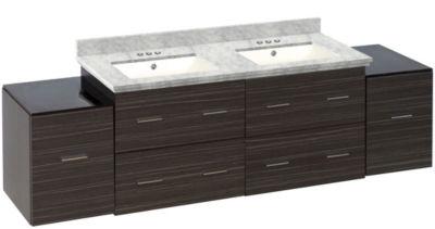 76-in. W Wall Mount Dawn Grey Vanity Set For 3H4-in. Drilling Bianca Carara Top Biscuit UM Sink