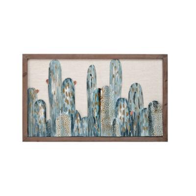 Madison Park Cactus Wood Framed Metal Wall Art