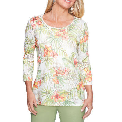 Alfred Dunner Parrot Cay 3/4 Sleeve V Neck T-Shirt-Womens