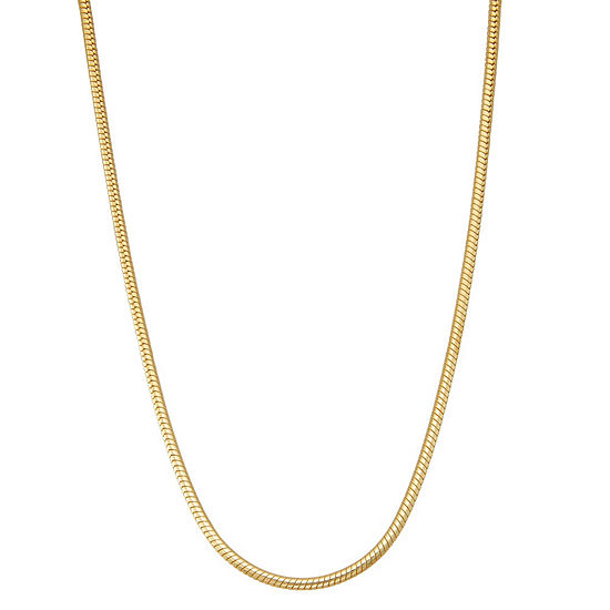 14K Gold Over Silver 20 Inch Solid Snake Chain Necklace