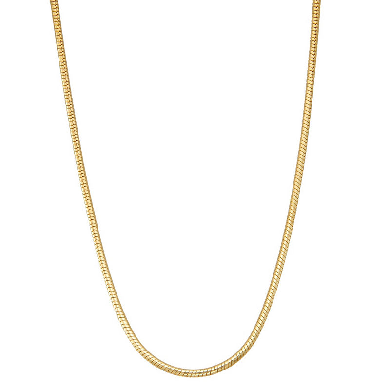 image of 14K Gold Over Silver 20 Inch Solid Snake Chain Necklace